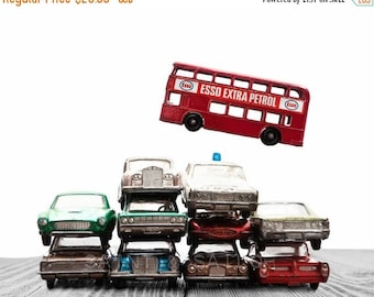 WEEKEND SALE Car Pile The Red Bus Jump on White and Grey Background, Photo Print, Boys Room decor, Boys Nursery Prints