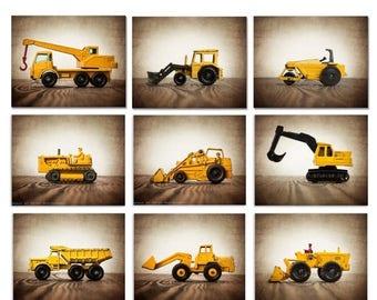 FLASH SALE til MIDNIGHT Vintage Matchbox Construction Vehicles, Set of Nine Stretched Canvas prints, Nursery Decors, Baby room