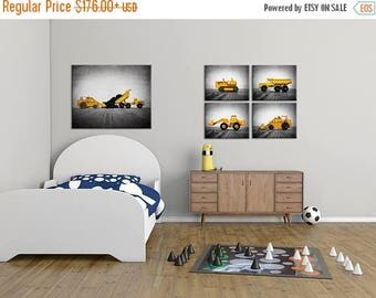 FLASH SALE til MIDNIGHT Vintage Construction Vehicles Set of  Four  Canvases Ready to Hang, Diggers, Wall Art,  Kids Room, Nursery Ideas