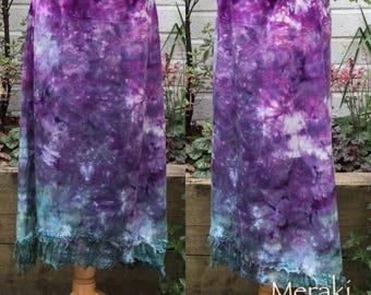 High Low Fairy Pixie Skirt, Hand dyed Skirt, Boho A line skirt