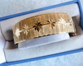 ENGLISH Gold Filled Stars Bangle Bracelet Wedding Bridal Heavy 33 Grams