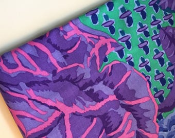 Kaffe Fassett Cabbage and Rose Blue Fabric, PWGP038, OOP, HTF, Fat Quarter
