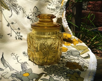 Mid-century Canister Jar Vintage Amber Glass Mod 1960s 1970s Small Imperial Atterbury