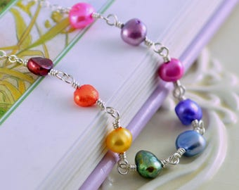 Colorful Rainbow Necklace, Genuine Freshwater Pearl, Girls Child Children, Fun Bright, Wire Wrapped, Sterling Silver Jewelry