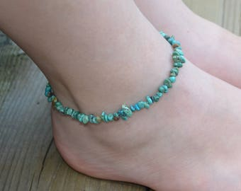 Real Turquoise Anklet, Teen Jewelry, Stretch Ankle Bracelet, Beach Jewelry, Boho, Summer Fashion, Gift for Teen, Genuine Gemstone