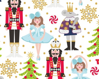 Snowflake Waltz - Nutcracker in White by Maude Asbury for Blend Fabrics
