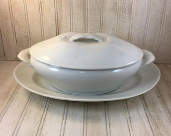 Vintage French Haviland & Co. Limoges Basketweave Covered Casserole and Underplate