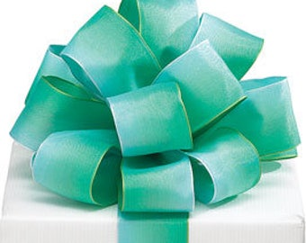 5+ Yards Green Ombre Watercolor Satin Ribbon - #9 - 1.5 Inch - Wired Edge - 5 Yards