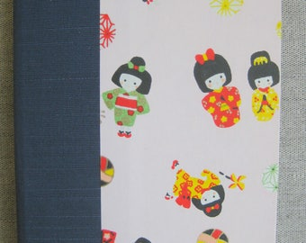 Small Lined Handbound Hardcover Journal Kimono Dolls