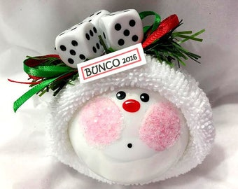 Bunco Christmas Ornaments Personalized Name Tag Option Bunko Townsend Custom Gifts Dice Die - F
