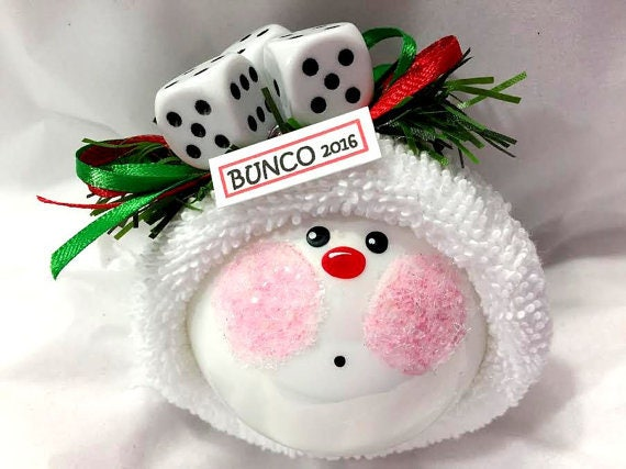 Bunco Christmas Ornaments Hand Painted White Glass Handmade Personalized Themed by Townsend Custom Gifts - F - BackRoom