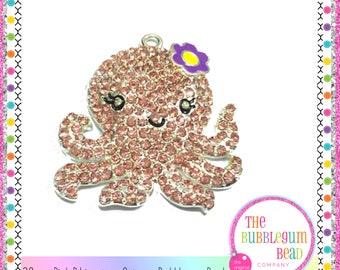 38mm RHINESTONE PINK OCTOPUS Bubblegum Necklace Pendant, Gumball Necklace Pendant, Chunky Necklace Pendant, Ocean, The Bubblegum Bead Co.