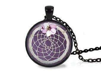 """25mm Dreamcatcher w/ Flower Purple Cabochon Black 18"""" Necklace"""