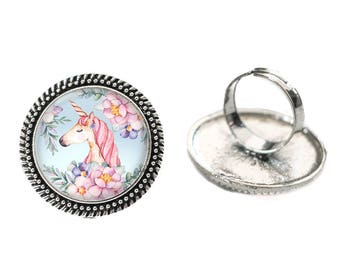 Unicorn with Blue Background Glass 25mm Cabochon Silver Double Rope Adjustable Ring