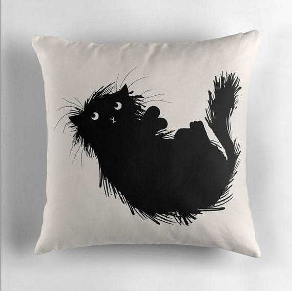 "Moggy (No.3) - Black and White - Throw Pillow / Cushion Cover (16"" x 16"") by Oliver Lake / iOTA iLLUSTRATION"