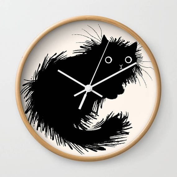 Moggy - wall clock - black and white - illustrated wall clocks - by Oliver Lake - iOTA iLLUSTRATiON