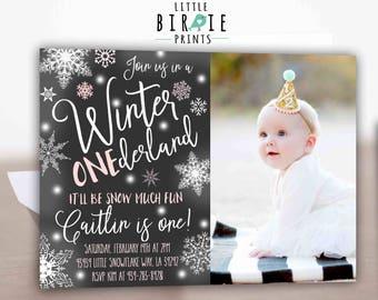 Winter ONEderland invitation Girl winter onederland invitation Girl snowflake invitation Rustic winter onederland invitation Kraft paper