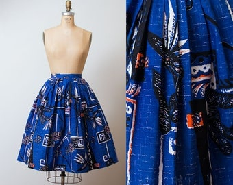 1950s Alfred Shaheen Skirt / 50s Hawaiian Skirt