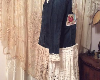 XL Denim Jacket, shabby vintage crocheted linen doilies, blue denim, altered jacket eco friendly fashion, X LARGE