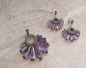 Purple Sapphire Necklace Earring Set Lab Created Sterling Silver Marcasite Custom Cut Vintage OT0005
