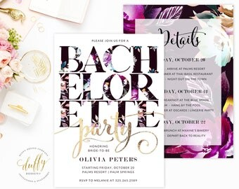 Bachelorette Party Invitations, Bachelorette Invitations, Bachelorette Party, Hens Party, Girls Weekend, Pink, Purple, Floral, Gold, Black