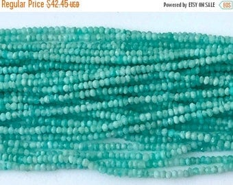 ON SALE 55% Amazonite Beads, Amazonite Faceted Rondelles, Tiny Beads, Natural Amazonite Necklace, 3mm, 13 Inch - GSA23