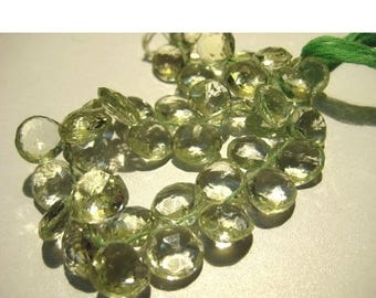ON SALE 55% Green Amethyst Briolette, Heart Briolettes, Faceted Green Amethyst, 7x7mm Beads  - 4 Inches- 19 pieces