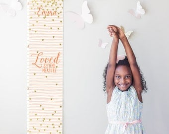 """Custom/ Personalized pink striped and gold hearts """"Loved beyond measure"""" canvas growth chart for girl's room or baby shower gift"""