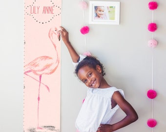 Custom/ Personalized Pink Flamingo canvas growth chart - perfect for baby girl's nursery or baby shower gift!