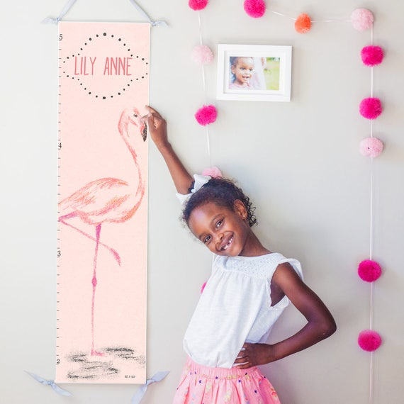 Personalized Pink Flamingo canvas growth chart
