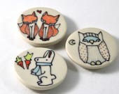 Bunny Rabbit Magnet Handmade Ceramic Refrigerator Magnet Bunny Illustration with Woodland Animal Cute Pottery Magnets Small Gifts Under 10