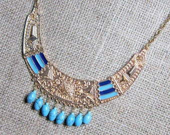 Turquoise Beaded Egyptian Syle Bib Gold Necklace - beaded crescent pendant statement necklace