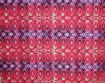 ON SALE Red and Purple Ikat Style Print Pure Cotton Fabric from Michael Miller--One Yard
