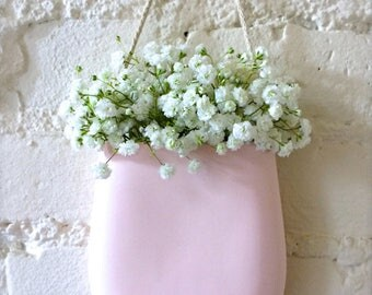 New Color-Pale Pink Porcelain Hanging Wall Pocket, Wall Hanging Vase, Wall Decor, Living With Flowers Everyday