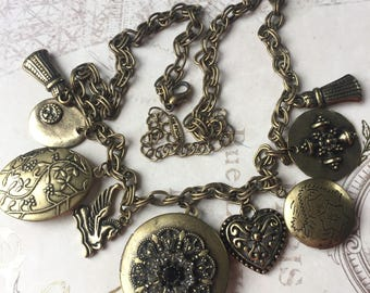 Vintage VCLM Charm Necklace with Lockets, Multiple Locket Chain, Estate Jewelry