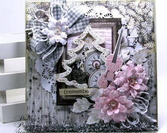 Shabby Chic Christmas Shaker Card Polly's Paper Studio Handmade