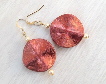 Large Earrings, Acrylic Jewelry, Gold Filled Earrings, Festive Jewelry, Bold Earrings, Stunning Jewelry, One of a Kind Gift for Her 2in