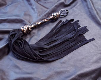 Tiger's Eye Suede BDSM Leather Flogger- Metallic Leather Flogger