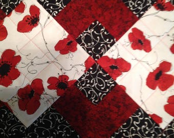 """Red, White and Black Floral Quilted Fabric Table Runner Table Topper 13"""" x 42"""""""