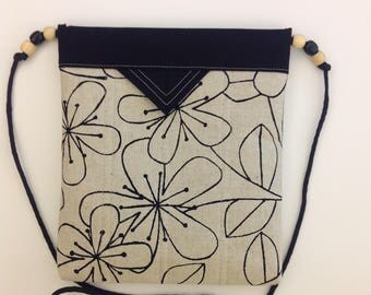 "Ecru and Black Floral Quilted Fabric Snap Bag Purse Handbag Shoulder Bag Crossbody Bag 8"" x 9"""