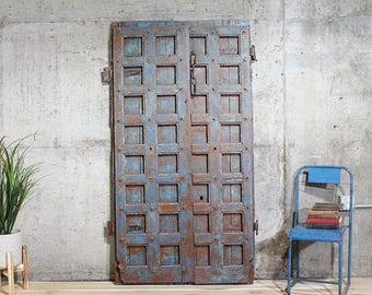 Antique Doors Teak Wood Haveli Doors Architectural Salvage Moorish Doors Yoga Room Blue and Sienna