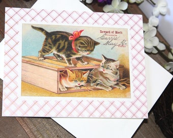 Handmade Note Card, Playing Kittens, Vintage Look, Unique, One of a Kind, Free US Shipping, Blank Inside