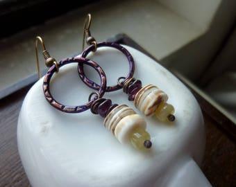 Violet Links Patina Copper Circles with Garnet Nuggets Yellow Honey Opals Voluta Heishi Earrings, Bohemian, Rustic, Tribal, Boho Chic