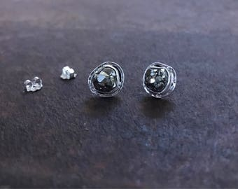 Pyrite Dodecahedron Studs - Pyrite Earrings - Pyrite Studs