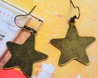 Elegant Antique Bronze Star Earring