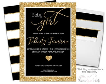 Baby Girl Shower Invitation - Girls Baby Shower Invitation - Girls Baby Shower Invite - Girls Baby Sprinkle Invite - Black and Gold Glitter
