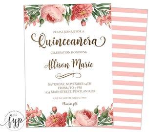quinceaera invitation girls 15th birthday invite quinceanera invite floral invitation fifteenth birthday - Quinceanera Invites