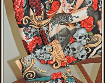 Dia de los Muertos tote and wristlet, zombie tote and wristlet, tattoo fabric tote bag, market tote, Everyday tote and pouch, gift for her