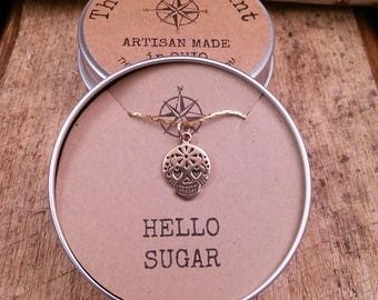 Mexican Sugar Skull Charm, Pendant, Necklace,  Hello Sugar