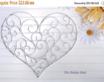 ON SALE Filigree Heart // Wedding Sign // White Wall Decor // Gift For Her // Heart Wall Sign //Shabby Chic Decor